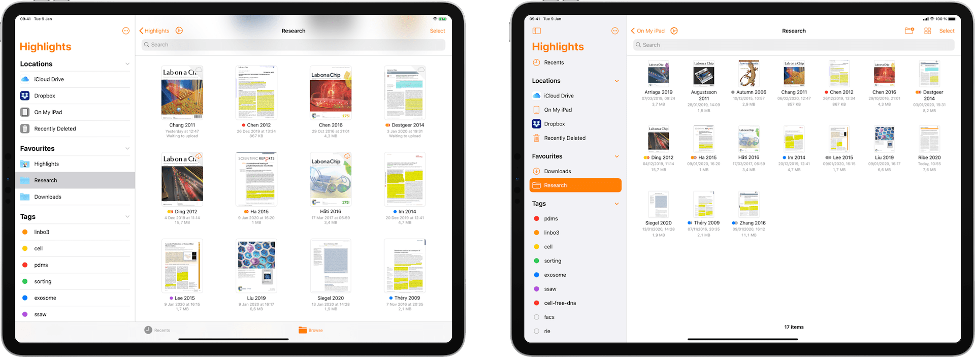 Comparison of the document browser in iPadOS 13 on the left and iPadOS 14 on the right.