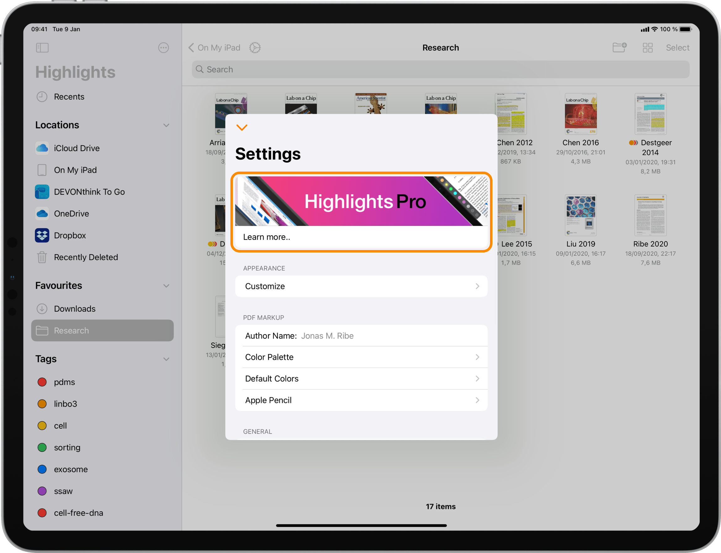 iPad displaying Highlights settings for unlocking Highlights Pro