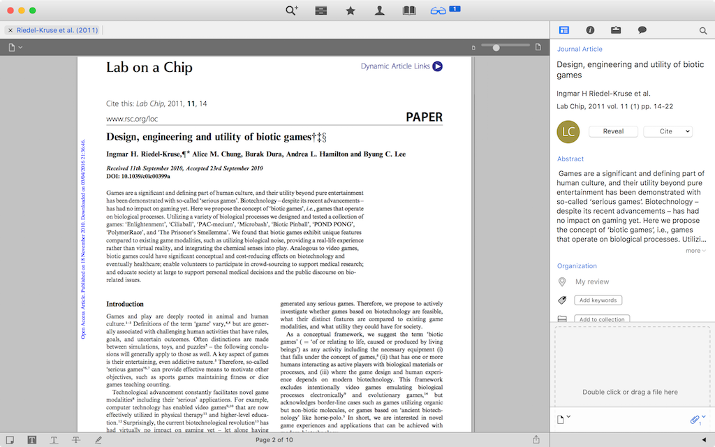 Screenshot of Papers Opening PDF from Library using Citation Link